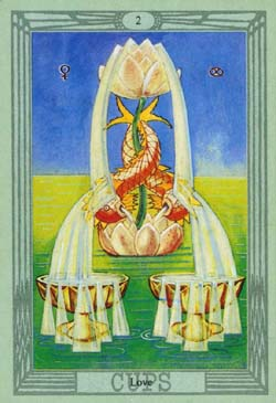 What does the Tarot card of 2 Cups mean, how does it combine with other cards